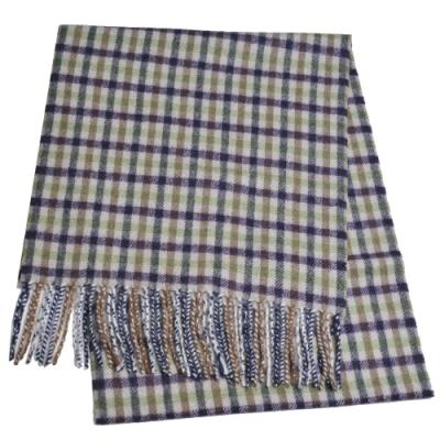 Aquascutum 英國製100%羊毛經典品牌字母LOGO刺繡圍巾(紫綠格紋)