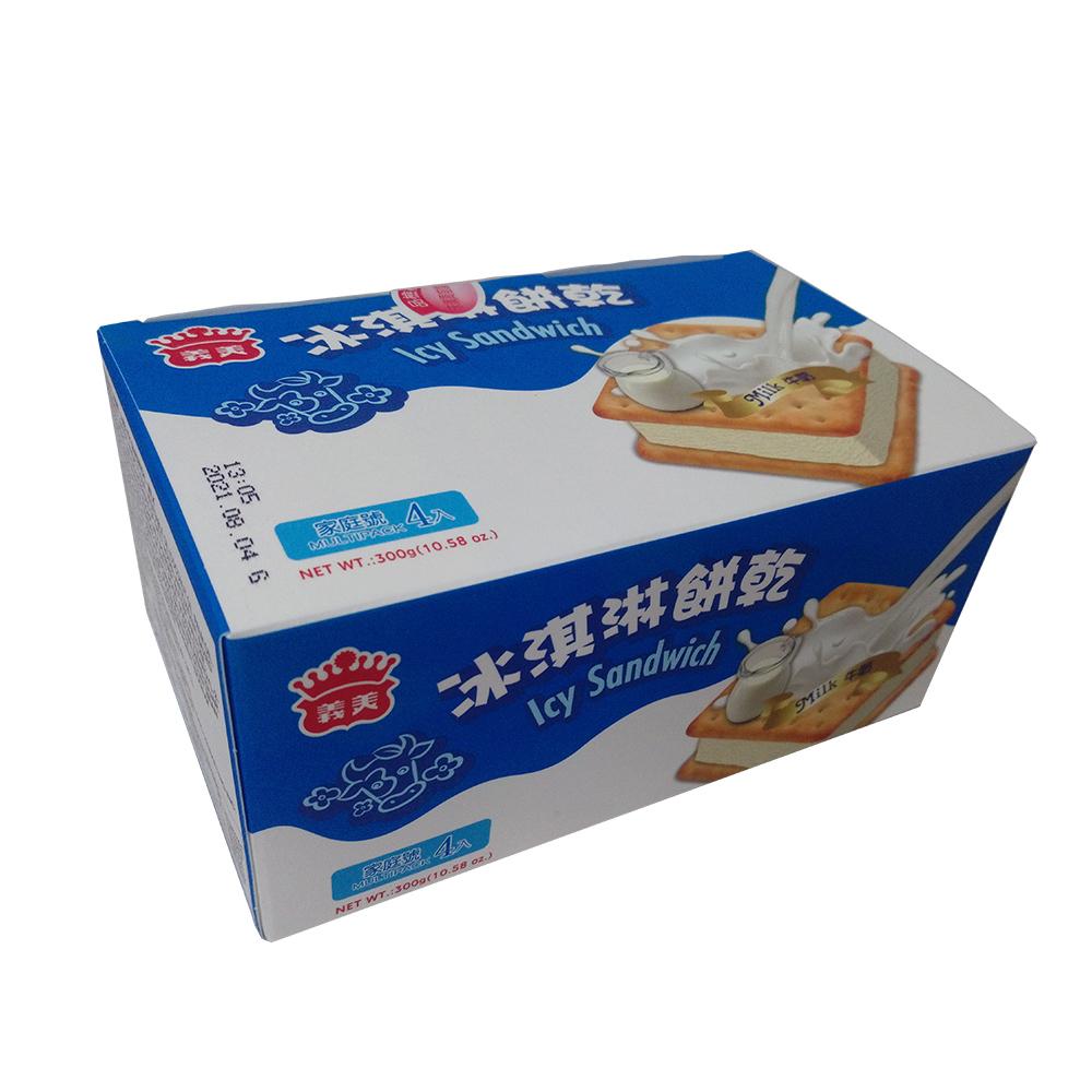 任- 義美 牛奶冰淇淋餅乾家庭號(75gX4個/盒)