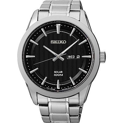 SEIKO 精工 紳士風格太陽能時尚錶(SNE363P1)-黑/44mm