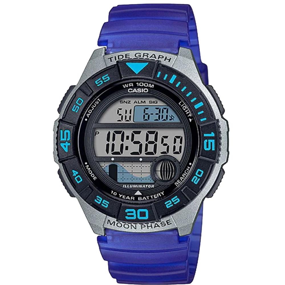 CASIO 大錶面輕量型運動電子錶-藍(WS-1100H-2A)/43mm