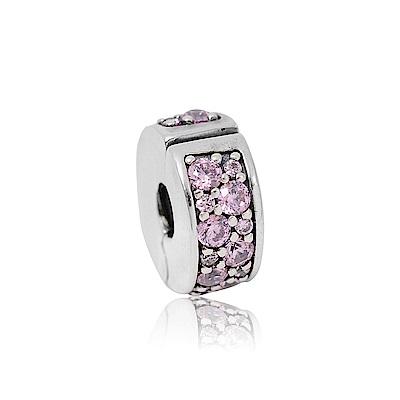 Pandora 潘朵拉 粉色鑲鋯扁狀夾扣式 純銀墜飾 串珠