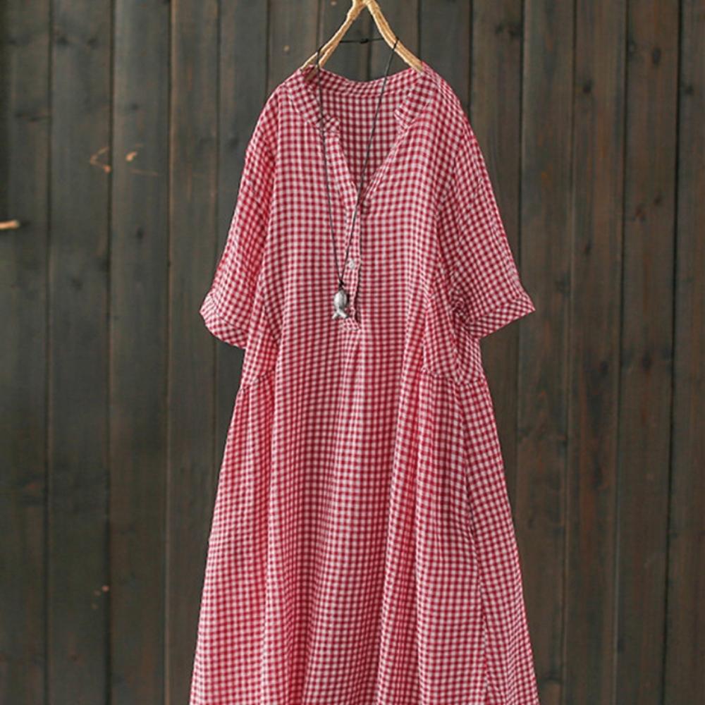 純棉短袖v領格子洋氣中長洋裝-設計所在