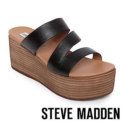 STEVE MADDEN HALLY 真皮革心機增高木質拖鞋-黑色
