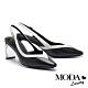 高跟鞋 MODA Luxury 摩登雙色流線型羊皮小方頭高跟鞋-黑 product thumbnail 1