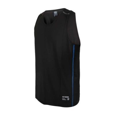 FIRESTAR 男彈性訓練籃球背心-運動 慢跑 路跑 無袖上衣 吸濕排汗 反光 B1708-92 黑藍