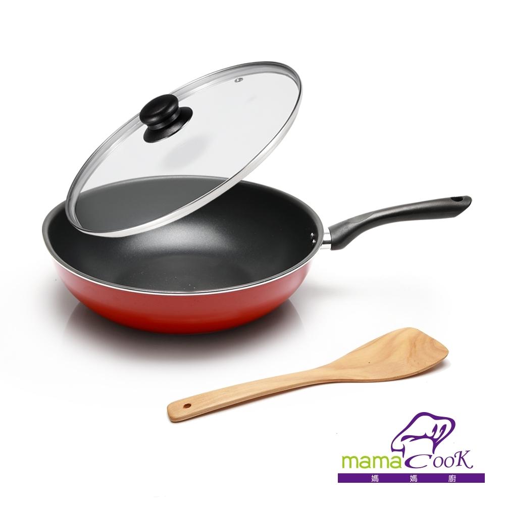 義大利Mama cook亮麗紅黑陶瓷不沾炒鍋組32cm(附蓋)
