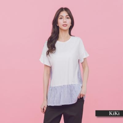 【KiKi】條紋拼接荷葉袖-上衣(二色)