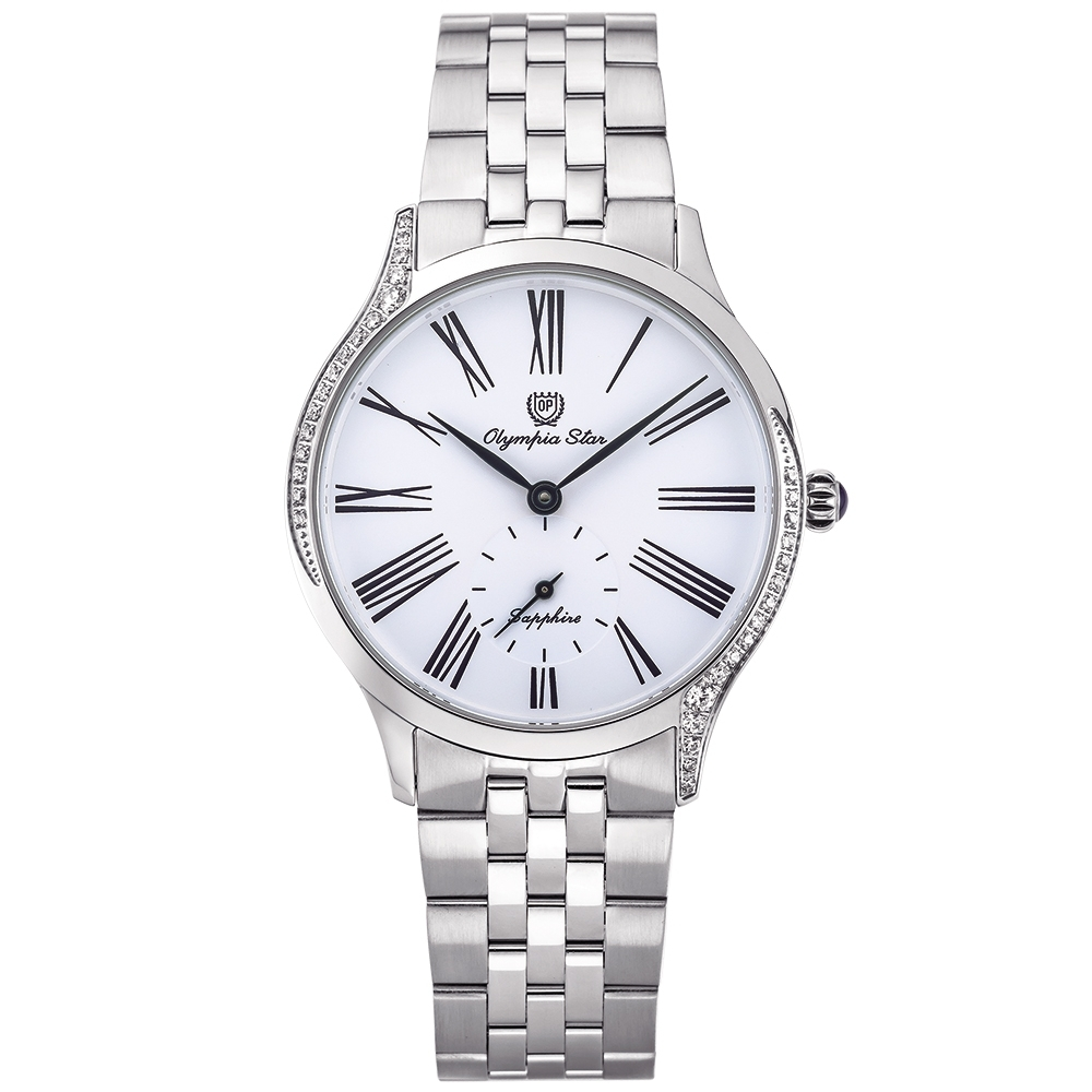 奧林比亞之星 Olympia Star 優雅晶漾弧線腕錶-白  58087DBS