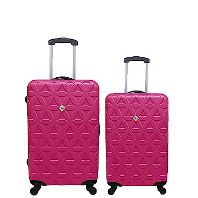 Gate9花花系列/二件組24吋+20吋/ABS霧面輕硬殼旅行箱/行李箱-桃紅色