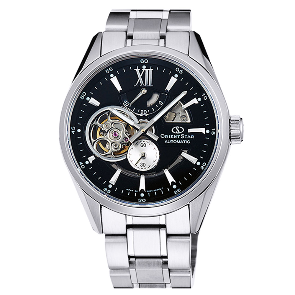 ORIENT東方STAR東方之星OPEN HEART機械錶手錶-黑x銀/41mm