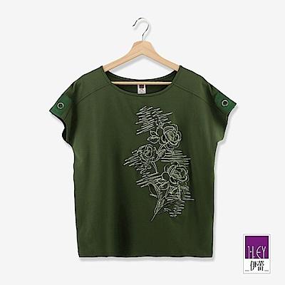 ILEY伊蕾 花朵刺繡連袖上衣(白/綠)