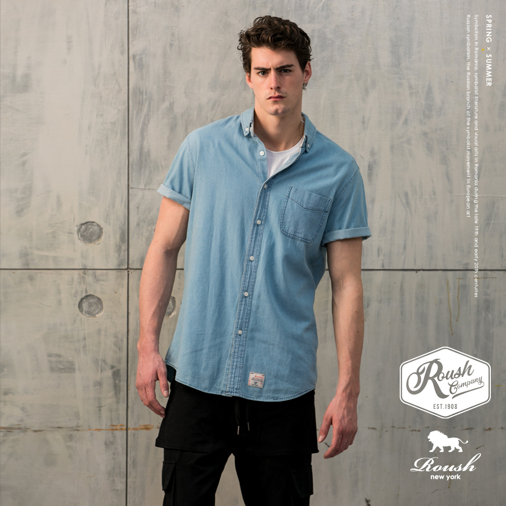 Roush 美式水洗牛仔短袖襯衫(2色)