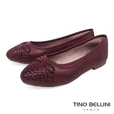 Tino Bellini 細緻皮革編織小蝴蝶結娃娃鞋 _ 酒紅