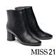 短靴 MISS 21 簡約率性俐落微尖頭粗高跟短靴-黑 product thumbnail 1