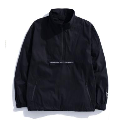 Y.A.S X Challenge聯名款 拉鍊織帶立領風衣-黑白