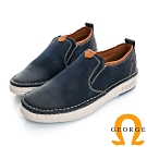 GEORGE-經典素面真皮懶人休閒鞋-寶藍色