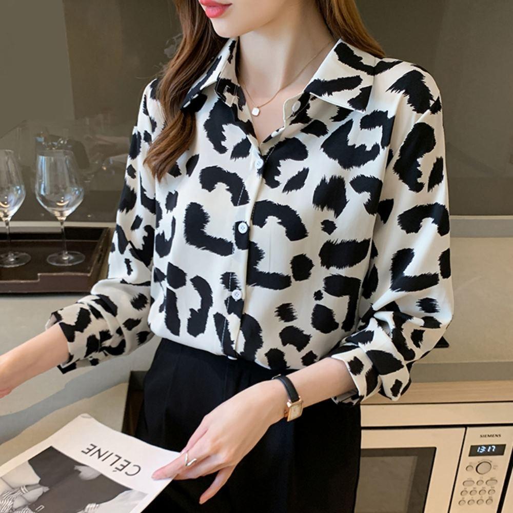 La Belleza豹紋印花排釦絲棉襯衫