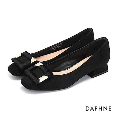 達芙妮DAPHNE 低跟鞋-絨毛方釦金屬時尚低跟鞋-黑