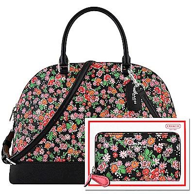 COACH 湖水綠色荔枝紋皮革波士頓包COACH 粉紅色馬車花朵圖樣PVC波士頓包-大型+