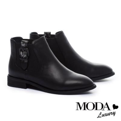 短靴 MODA Luxury 酷勁時髦釦帶裝飾牛皮低跟短靴-蛇紋