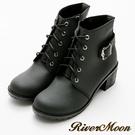River&Moon機車靴-個性綁帶造型側拉鍊短靴 黑