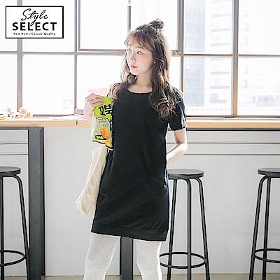 高含棉羅紋拼接純色長版衛衣-OB大尺碼 @ Y!購物