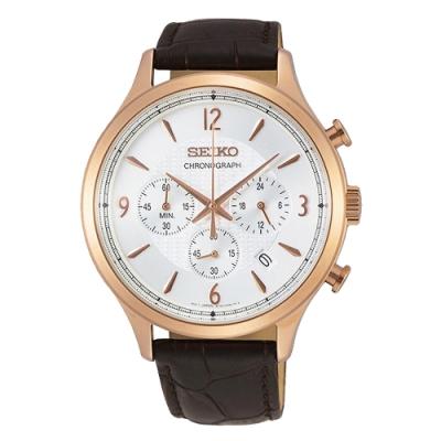 SEIKO 精工CS 時尚三眼計時真皮手錶SSB342P1-玫瑰金X咖啡/43mm