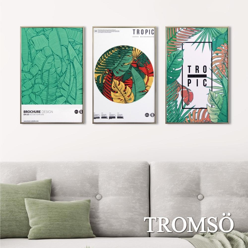 TROMSO北歐生活版畫有框畫-百樂叢林WA136(三幅一組)