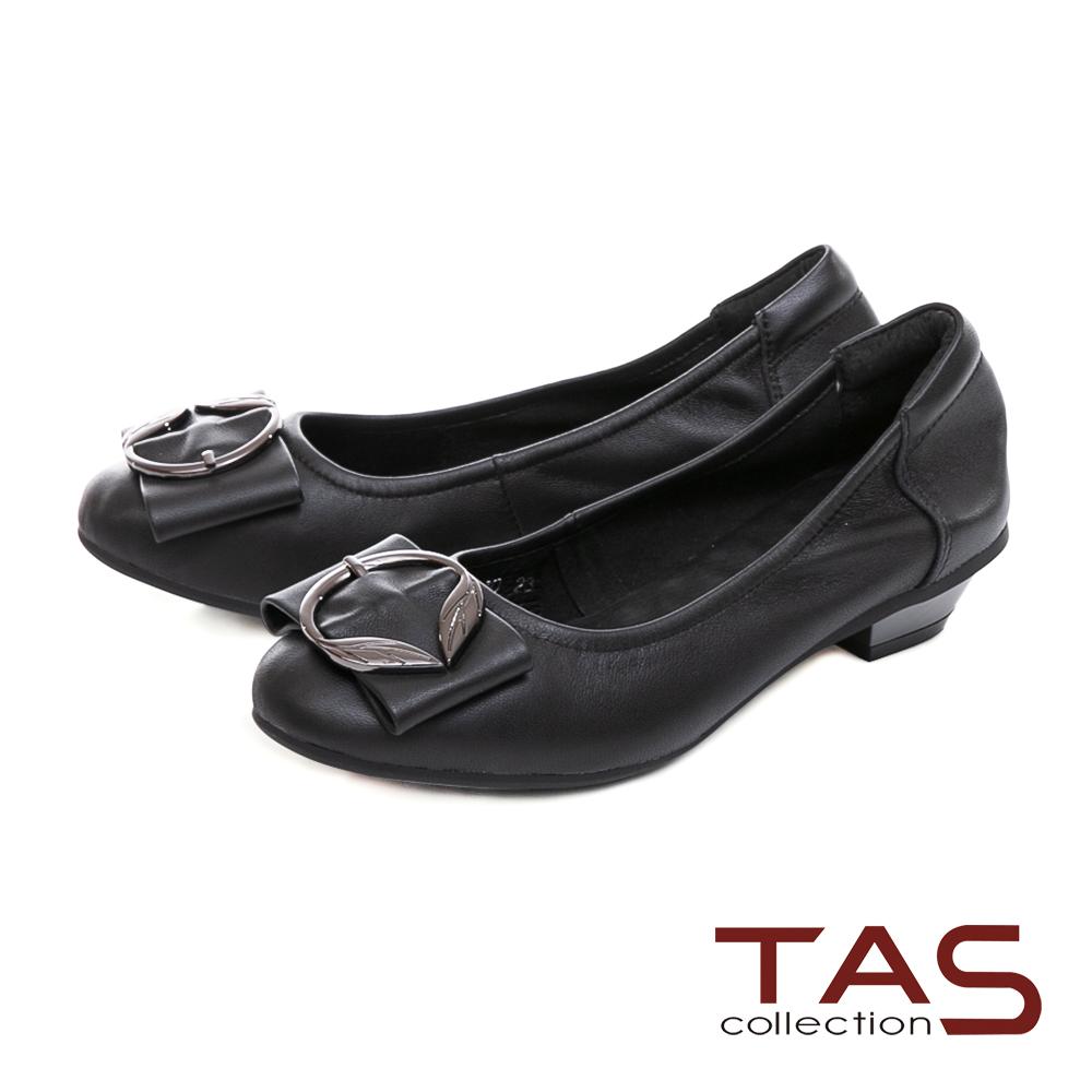 TAS 金屬飾扣蝴蝶結素面羊皮娃娃鞋-經典黑