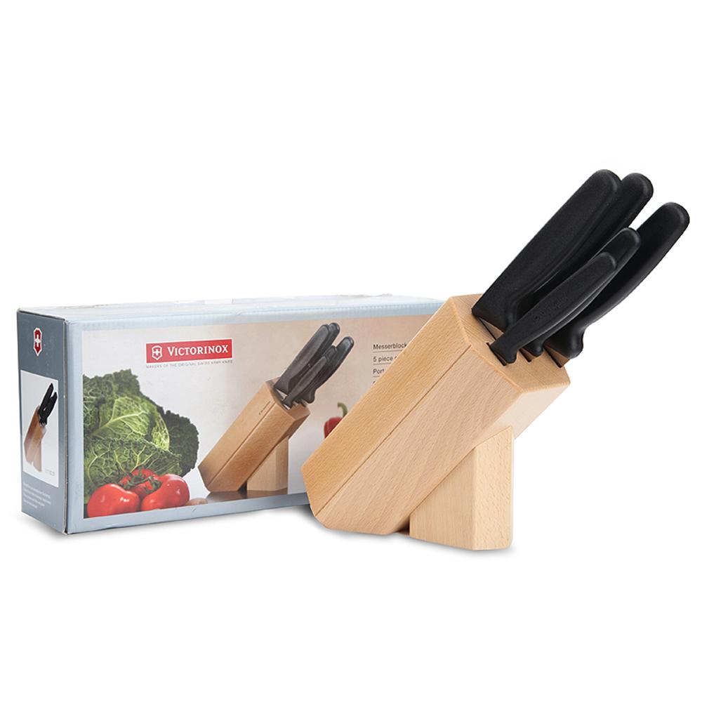 VICTORINOX瑞士維氏 歐式廚刀5件組 (含刀座/刀架) 5.1183.51