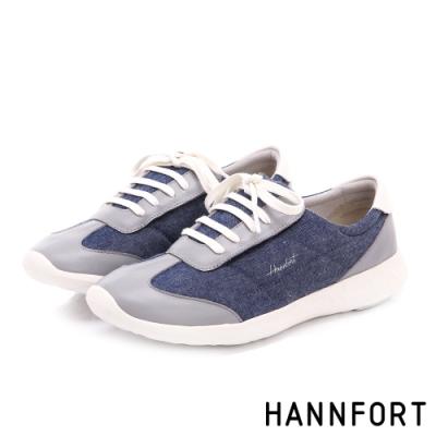 HANNFORT ICE 易撕套入式丹寧氣墊休閒鞋-女-深藍