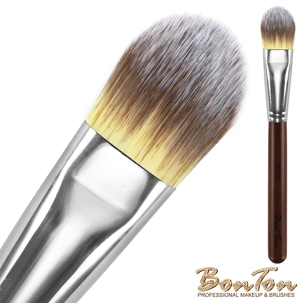 BonTon 原木系列 扁粉底刷(中) RT003 三色纖維直毛