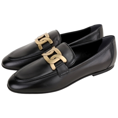 TOD'S Kate 金屬鍊條小牛皮樂褔鞋(黑色)
