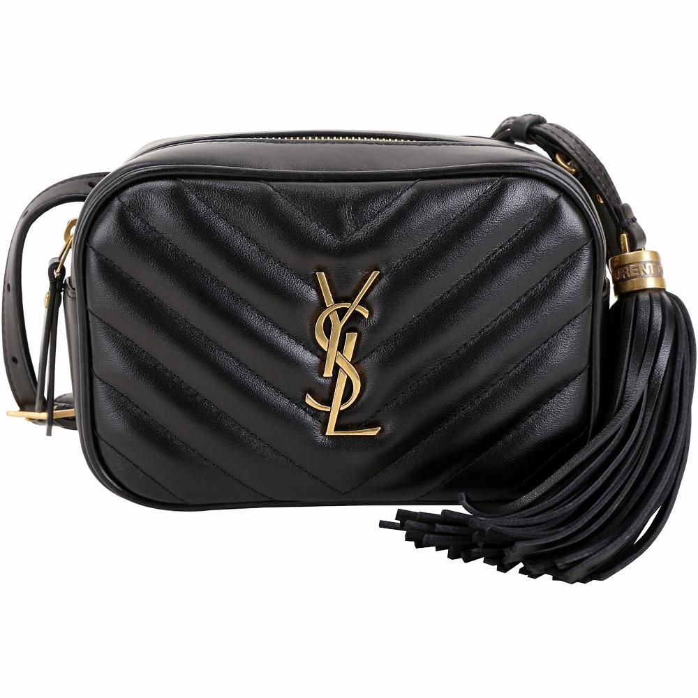 YSL Saint Laurent LOU 銅金字絎縫小牛皮流蘇胸肩包/腰包(黑色)
