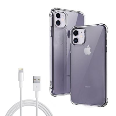 [買手機殼送充電線] iPhone 11 透明黑 四角防摔 氣囊 手機殼 防摔殼 (iPhone11手機殼 iPhone11保護殼 )