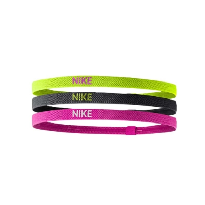 NIKE 彈性髮帶3條入 螢光黃黑粉