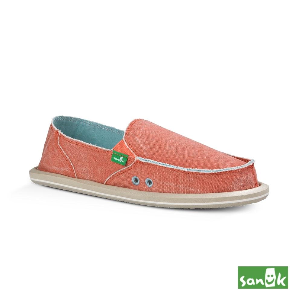 SANUK 女款US7 仿舊帆布懶人鞋(橘色)