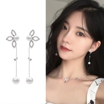 梨花HaNA 韓國925銀葉片鑽石葉語耳環銀色珍珠