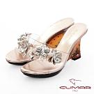 CUMAR 情迷哈瓦那 - 立體花卉水鑽裸肌楔形跟玻璃鞋-金