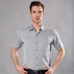 ROBERTA諾貝達 台灣製 合身版 吸濕速乾 商務條紋短袖襯衫 灰色