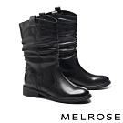 中筒靴 MELROSE 經典簡約時尚牛皮皺褶低跟中筒靴-黑