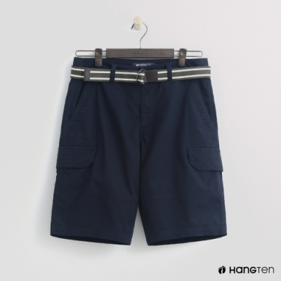 Hang Ten - 男裝 - 腰帶造型口袋棉質短褲-藍
