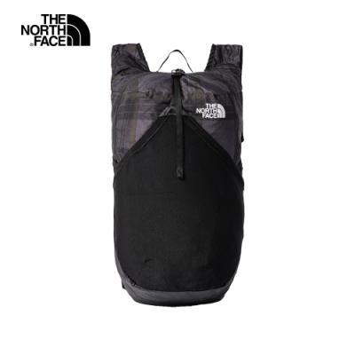 The North Face北面男女款黑色格紋休閒後背包|3KWRWTX