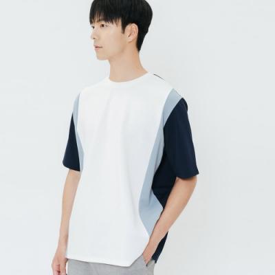 H:CONNECT 韓國品牌 男裝-造型色塊拼接上衣-白