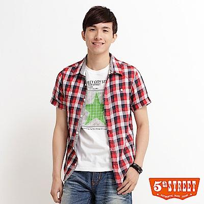 5th STREET 雙層布小方格格紋襯衫-男-紅色