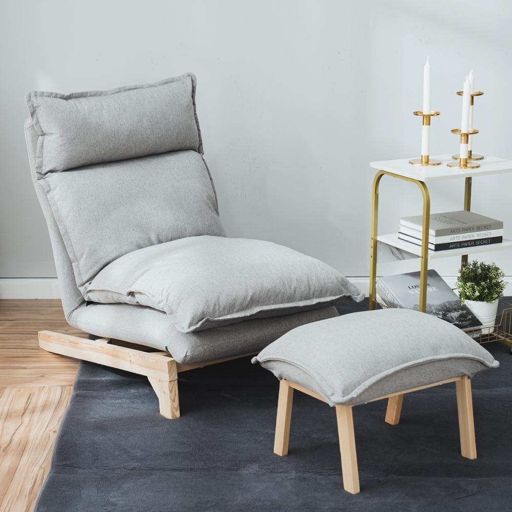 樂嫚妮 五段式懶人沙發/躺椅/單人沙發-附腳凳