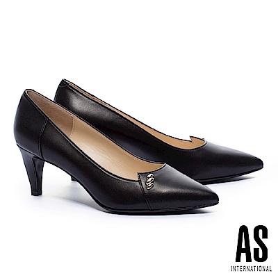 高跟鞋 AS 金屬釦飾羊皮尖頭高跟鞋-黑