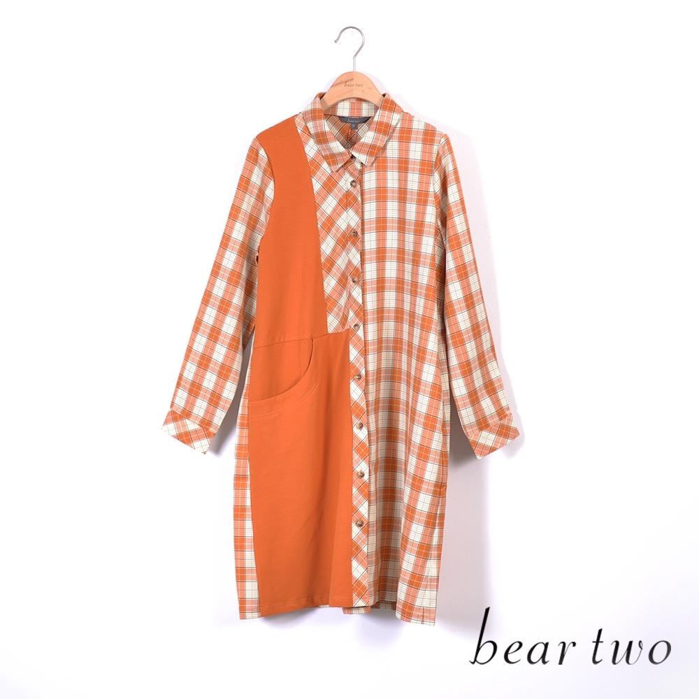 beartwo- 單邊拼接大口袋襯衫洋裝-桔