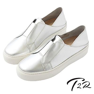 【T2R】真皮手工簡約時尚懶人鞋-銀