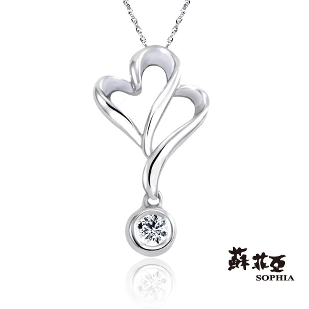 蘇菲亞SOPHIA - 花綴0.10克拉八心八箭鑽石項鍊-18K